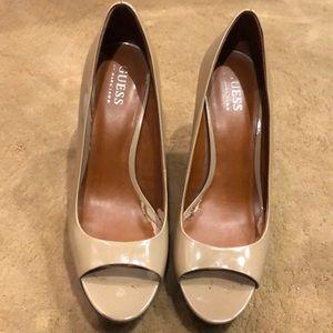 Used nude pumps peep toe